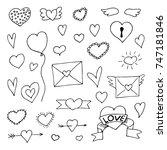 set of doodle hearts   Shutterstock .eps vector #747181846