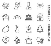 thin line icon set   atom ... | Shutterstock .eps vector #747185398