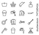 thin line icon set   basket ... | Shutterstock .eps vector #747185416