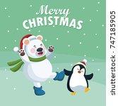 merry christmas cartoon | Shutterstock .eps vector #747185905