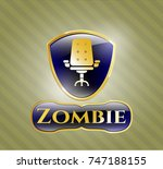 gold emblem or badge with... | Shutterstock .eps vector #747188155