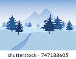 blue winter snowy landscape... | Shutterstock .eps vector #747188605