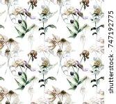 summer seamless pattern with... | Shutterstock . vector #747192775