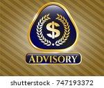golden badge with laurel... | Shutterstock .eps vector #747193372