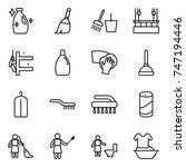 thin line icon set   cleanser ... | Shutterstock .eps vector #747194446