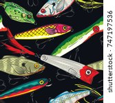 pop and colorful fishing lures...   Shutterstock .eps vector #747197536