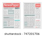 two pages of newspaper ... | Shutterstock . vector #747201706