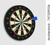 target hitting by dart arrow ... | Shutterstock .eps vector #747209536