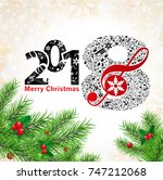 new year musical background... | Shutterstock .eps vector #747212068