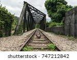 view along the railway. old... | Shutterstock . vector #747212842