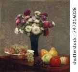Asters And Fruit On A Table  By ...