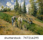 The Harvest, Pontoise, by Camille Pissarro, 1881, French impressionist painting, oil on canvas. The theme of potato gathering recurs in Pissarro\x90s works, linking him to the realist painters