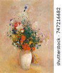 vase of flowers   by odilon... | Shutterstock . vector #747216682