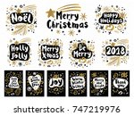 happy new year sketch style set.... | Shutterstock .eps vector #747219976