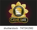 gold emblem with popcorn icon... | Shutterstock .eps vector #747241582