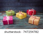 multicolored gift boxes on... | Shutterstock . vector #747254782