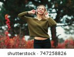 young hipster stylish beautiful ... | Shutterstock . vector #747258826