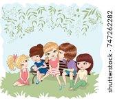 cute girls vector illustration.   Shutterstock .eps vector #747262282