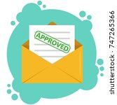 envelope with approved document ... | Shutterstock .eps vector #747265366