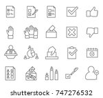 set of vote related vector line ... | Shutterstock .eps vector #747276532