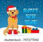christmas card with dog and... | Shutterstock .eps vector #747277042