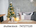 christmas interior room with... | Shutterstock . vector #747277135