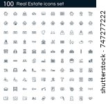 real estate icon set with 100...