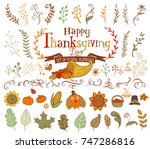 thanksgiving design elements... | Shutterstock .eps vector #747286816