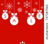 christmas sale balls with... | Shutterstock .eps vector #747287062