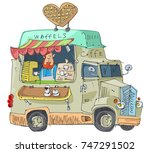 vintage lorry modified as... | Shutterstock .eps vector #747291502