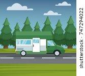 vehicle in highway | Shutterstock .eps vector #747294022