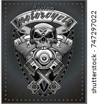 vintage motorcycle label | Shutterstock .eps vector #747297022