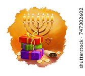 happy hannukah  chanukah...   Shutterstock . vector #747302602