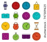 time and clock icons set....