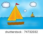 sailboats on a windy day | Shutterstock . vector #74732032