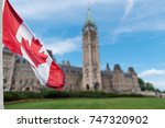 canadian flag waving with... | Shutterstock . vector #747320902