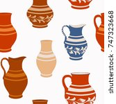 seamless pattern from ceramic... | Shutterstock .eps vector #747323668