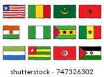 hand drawn flags of west and... | Shutterstock .eps vector #747326302