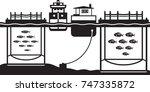 sea cage fish farming   vector... | Shutterstock .eps vector #747335872
