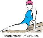 professional swimmer woman... | Shutterstock .eps vector #747343726