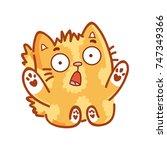 cute ginger cat  shocked ... | Shutterstock .eps vector #747349366