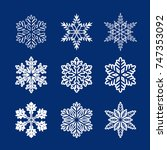 collection of white snowflakes. ... | Shutterstock .eps vector #747353092