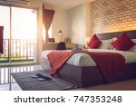 Stock photo bedroom hotel interior design 747353248