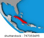 map of cuba in red on political ...   Shutterstock . vector #747353695
