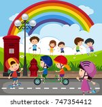 many children playing in the... | Shutterstock .eps vector #747354412