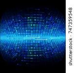 binary circuit board future... | Shutterstock .eps vector #747359548