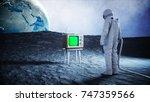 alone astronaut on the moon...   Shutterstock . vector #747359566