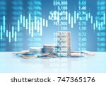 graph coins stock finance and... | Shutterstock . vector #747365176