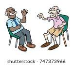 cartoon of two grumpy old men... | Shutterstock .eps vector #747373966