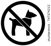 no dogs sign black and white.... | Shutterstock .eps vector #747374212